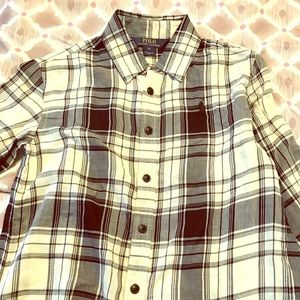 girls black and white plaid blouse